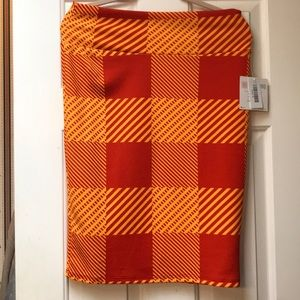 NWT LuLaRoe Cassie pencil skirt orange and yellow